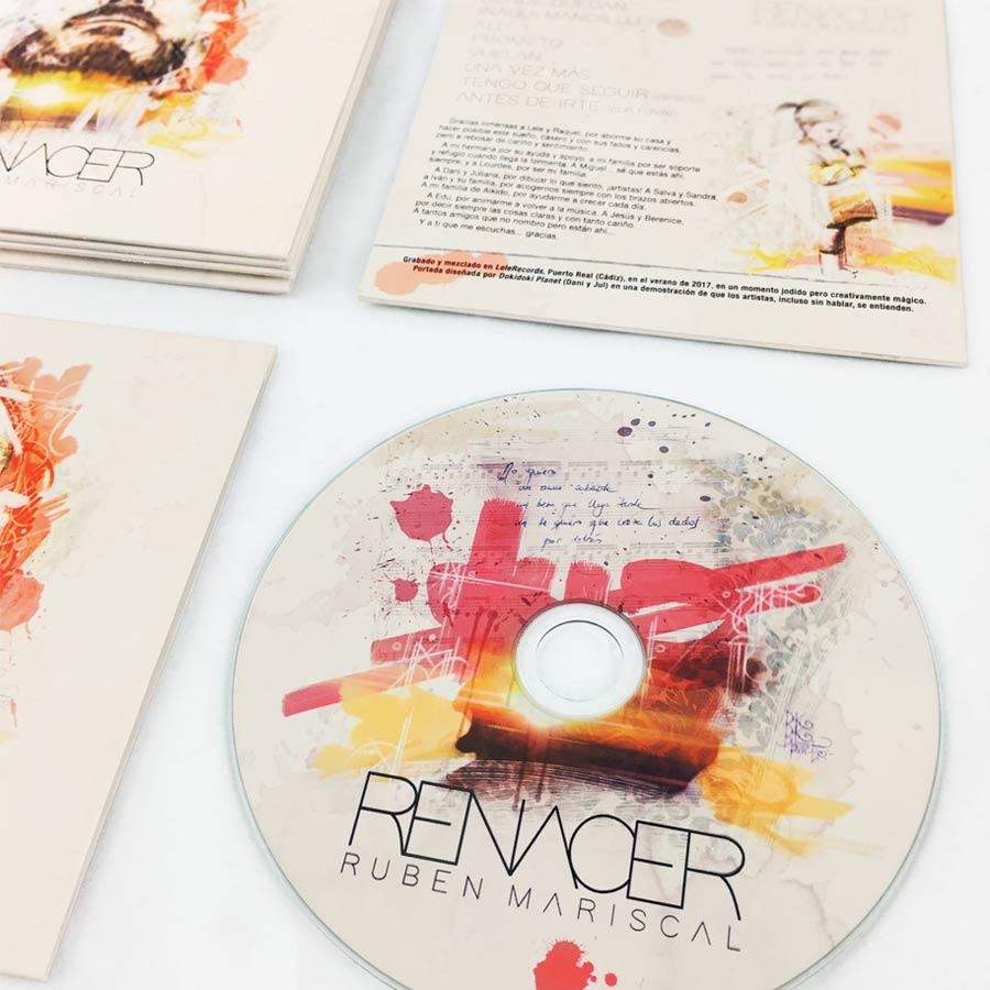 CD cover e imagen de marca para el cantautor Rubén Mariscal. Logotipo, cartelería, camisetas. Todo basado en un retrato del cantante.