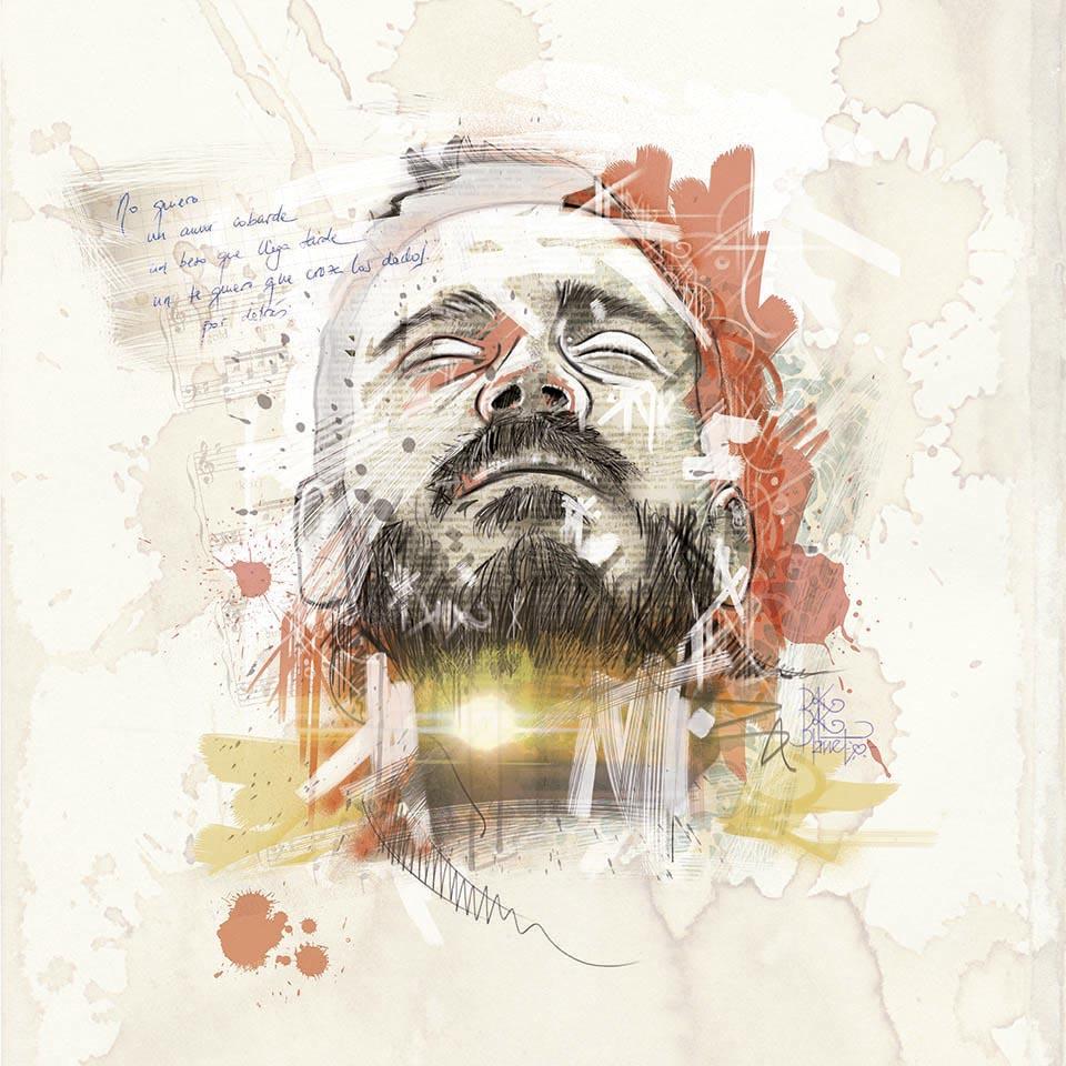 Retrato e imagen de marca para el cantautor Rubén Mariscal. Logotipo, cartelería, camisetas. Todo basado en un retrato del cantante.