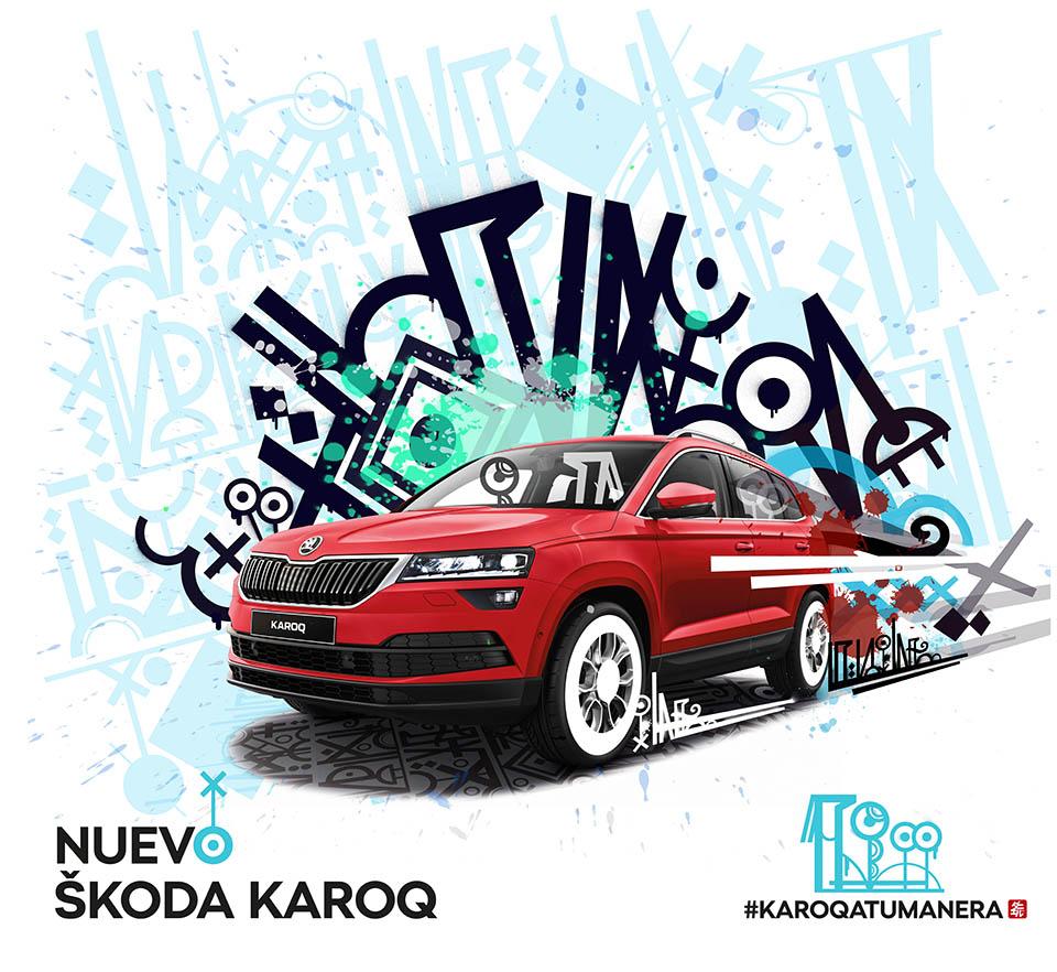Skoda Karoq buscaba una imagen gráfica moderna y basada en el Graffiti, más acorde a este modelo de SUV. Propuesta enviada para Concurso.