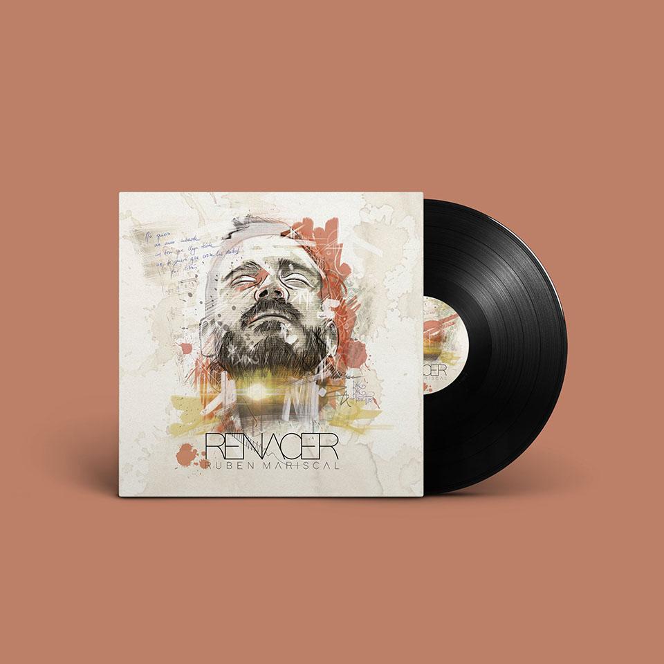 Disco. CD cover e imagen de marca para el cantautor Rubén Mariscal. Logotipo, cartelería, camisetas. Todo basado en un retrato del cantante.