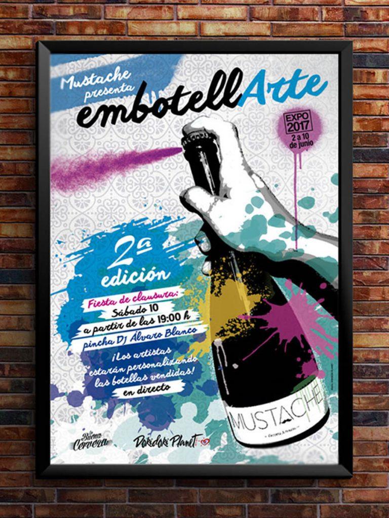 Cartel EmbotellArte 2017 fue una expo donde se expusieron 25 botellas pintadas a mano. Embotellarte La buena Cerveza, Madrid.