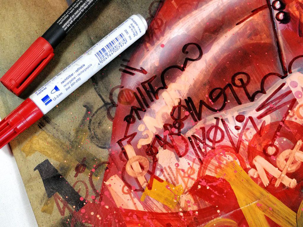 Detalle obra enviada a Paul Ricard, propuesta inovadora Sacro Graffiti de Danieru San