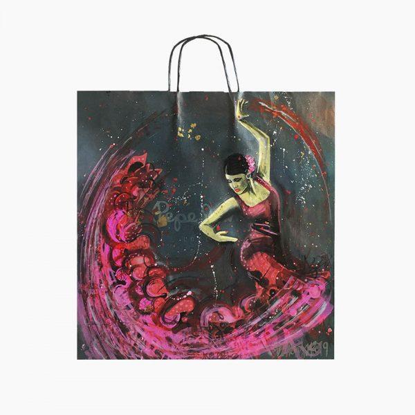 Bailaora by Danieru San. Bolsa reciclada inspirada en el Flamenco, sus trajes y el ritmo del baile. Conoce nuestras otras bolsas Cañís.