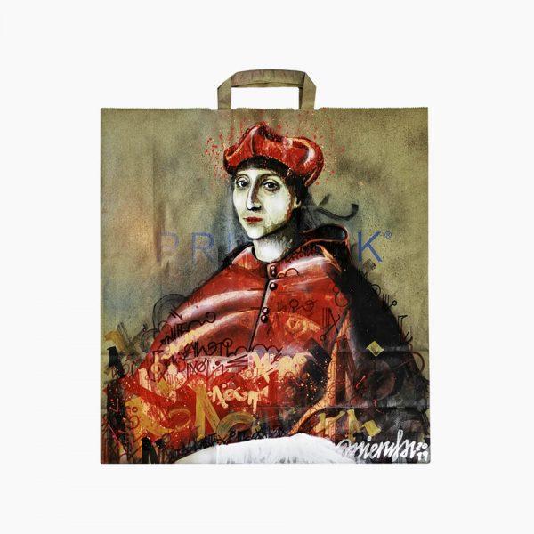 El Cardenal, obra sobre bolsa kraft reutilizada, sacro graffiti, original inedito.