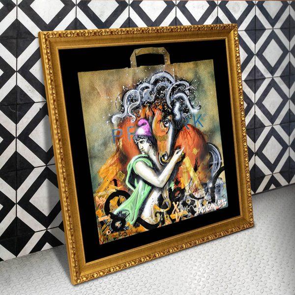 El rapto de las Sabinas Revisited. Danieru San da su versión Urban Art de la obra clasica renacentista, sobre una bolsa reciclada EmbolsArte.