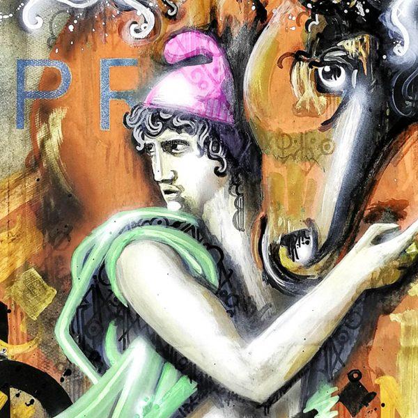 Detalle. El rapto de las Sabinas Revisited. Danieru San da su versión Urban Art de la obra clasica renacentista, sobre una bolsa reciclada EmbolsArte.