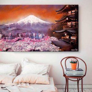 Kyoto por la tarde. Danieru San es un apasionado de Japón y quiso prismar en un lienzo la atmosfera única, colorista y moderna de Kyoto.
