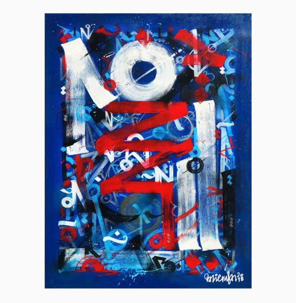 América es AmeriChaos en este lienzo. El artista representa la sociedad americana plural y triunfadora, con sus colores azul y rojo.
