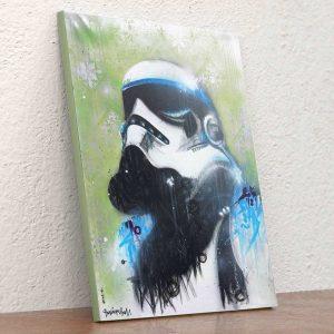Los Storm Trooper son parte de nuestra iconografía Pop, y por ello Danieru San los pintó sobre Lienzo. Disponible en nuestro shopping.